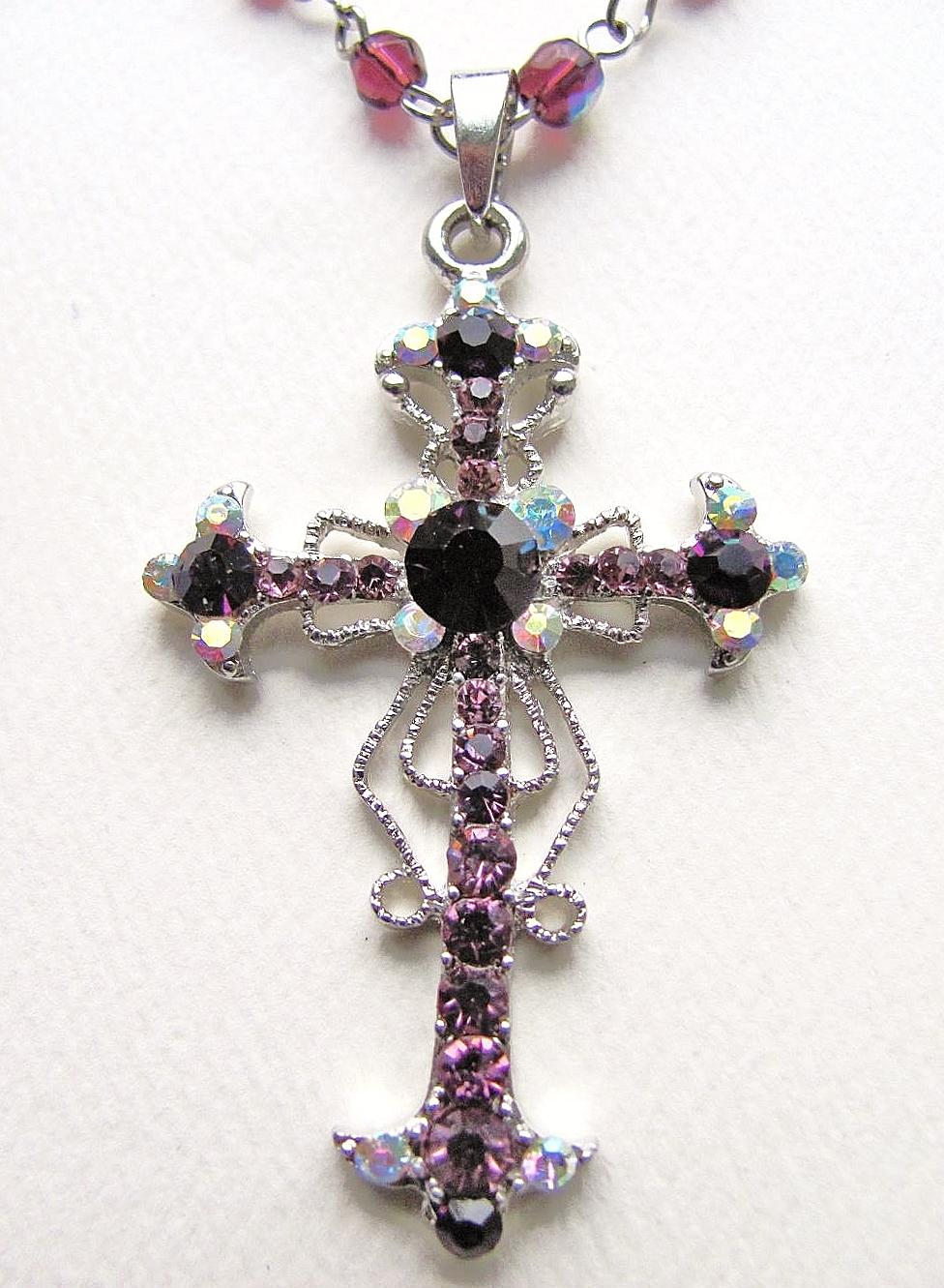 Purple Amethyst Vintage Cross Pendant Necklace Filigree