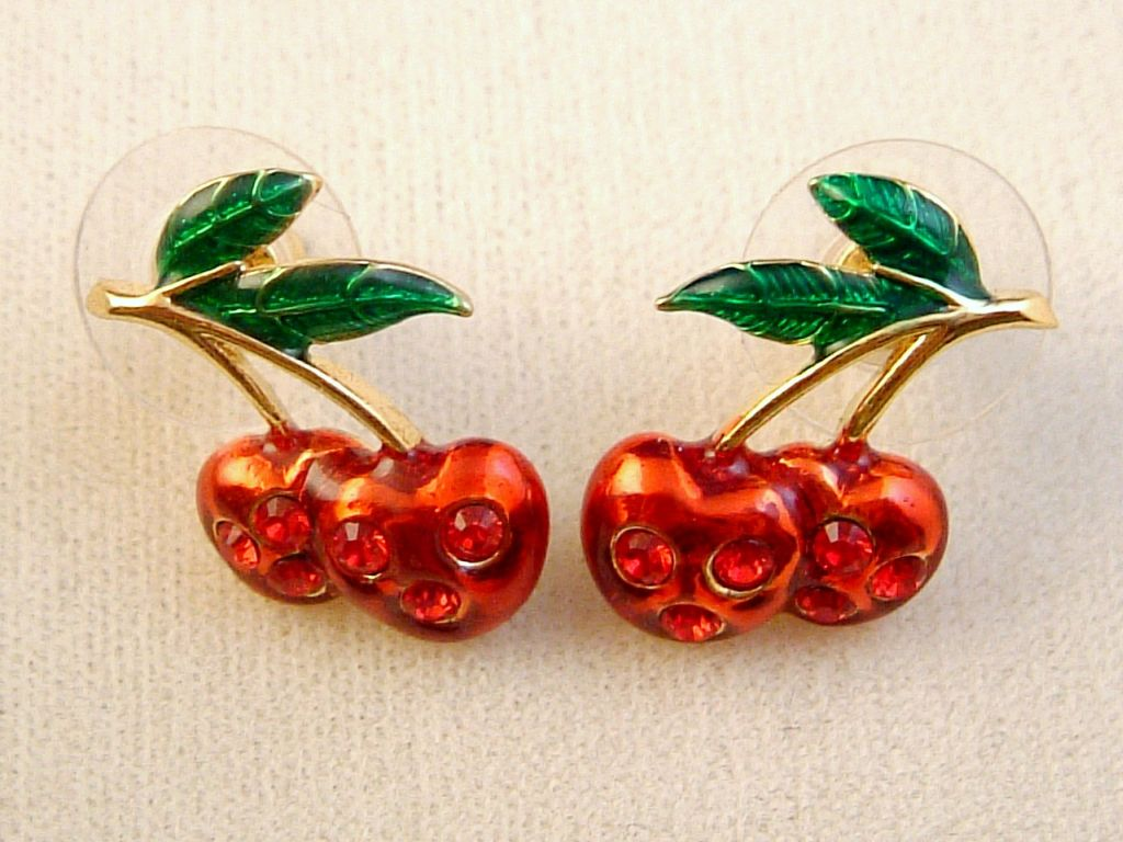 Red Cherry & Green Leaves Post Earrings, Ruby Austrian Crystals, Anti-allergic Jewelry