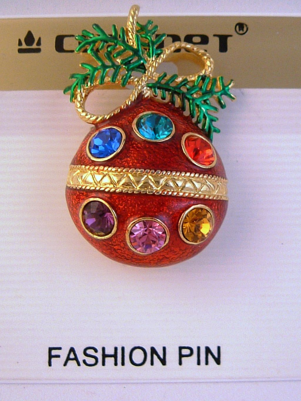 Red Christmas Ornament Pin, Purple Green Blue Yellow Austrian Crystals