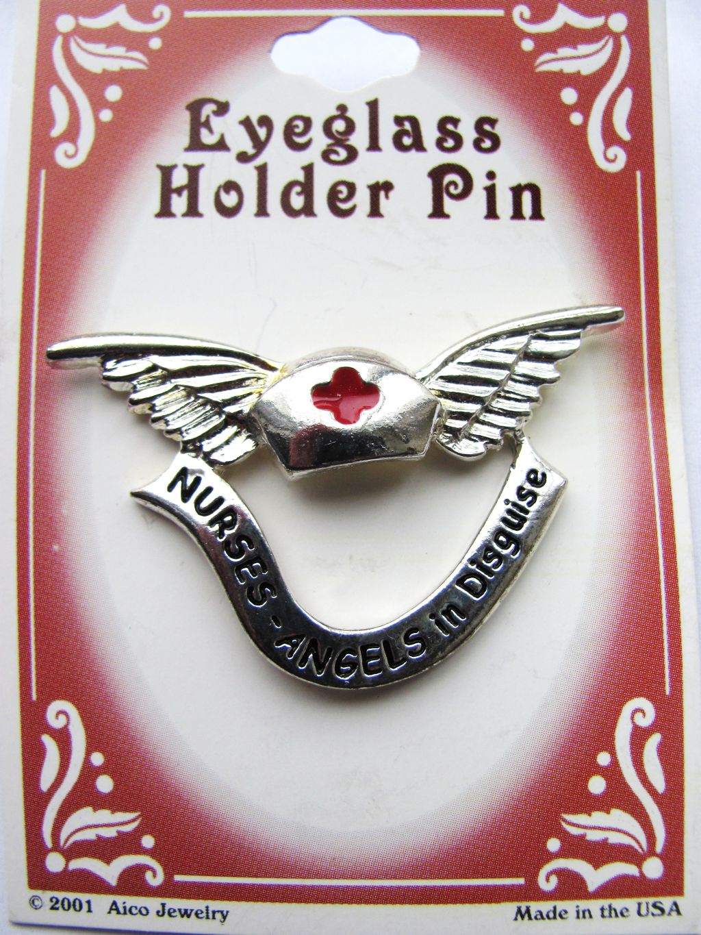 Red Cross Hat & Nurse Angel Silver Wings Eyeglass Holder Pin