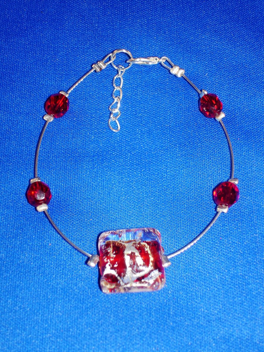 Red Genuine Glass Contemporary Bracelet