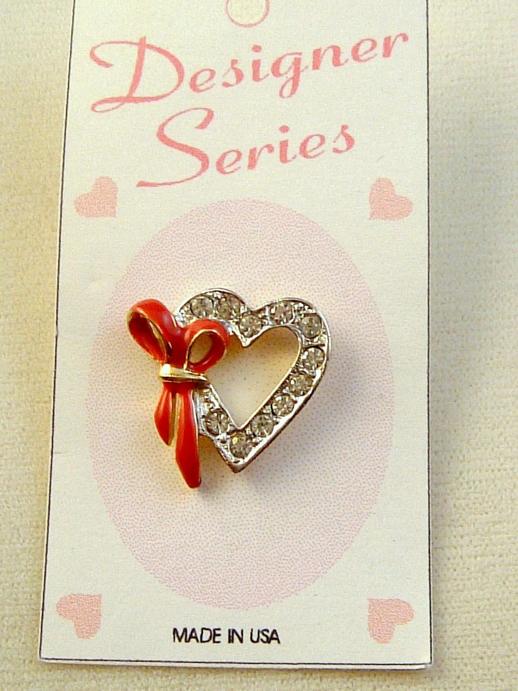 Red Ribbon Heart Pin, Two-tone Gold Silver, Clear Diamond Crystal