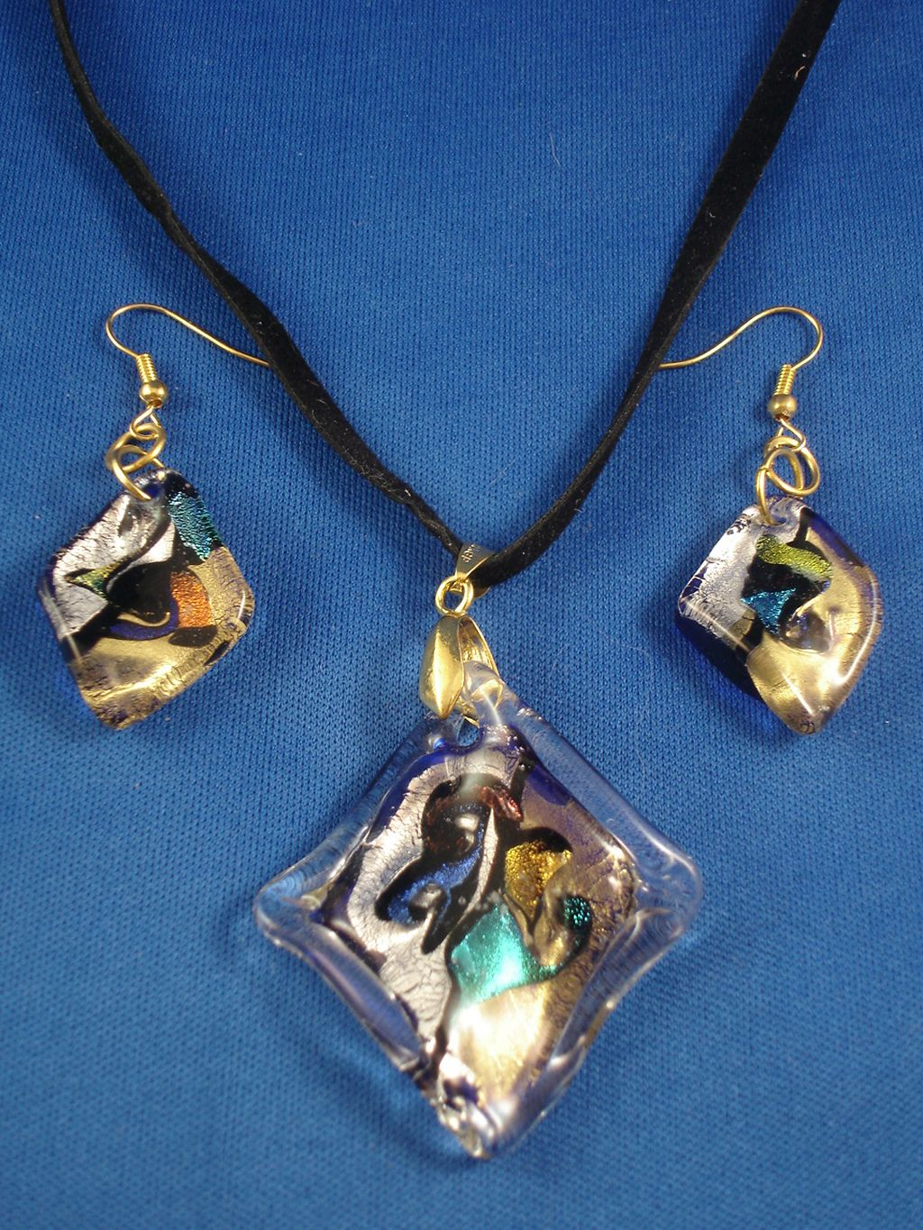 Rhomb Shape Stained Glass Pendant, Set of Necklace & Earrings,  Mixed Bright Colors