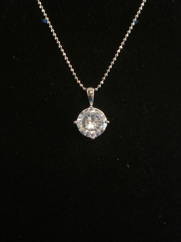 Round Cut Cz Cubic Zirconia Diamond Pendant 16 Quot Silver