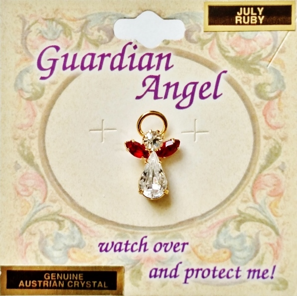 Ruby-July Birthstone Guardian Angel Pin, Genuine Austrian Crystals