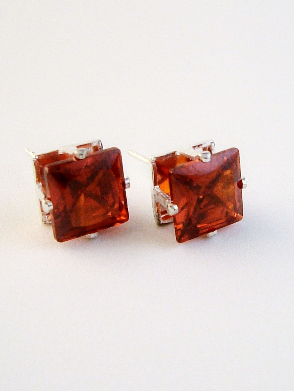 Ruby Princess Cut Silver Stud Earrings Genuine CZ Cubic Zirconia