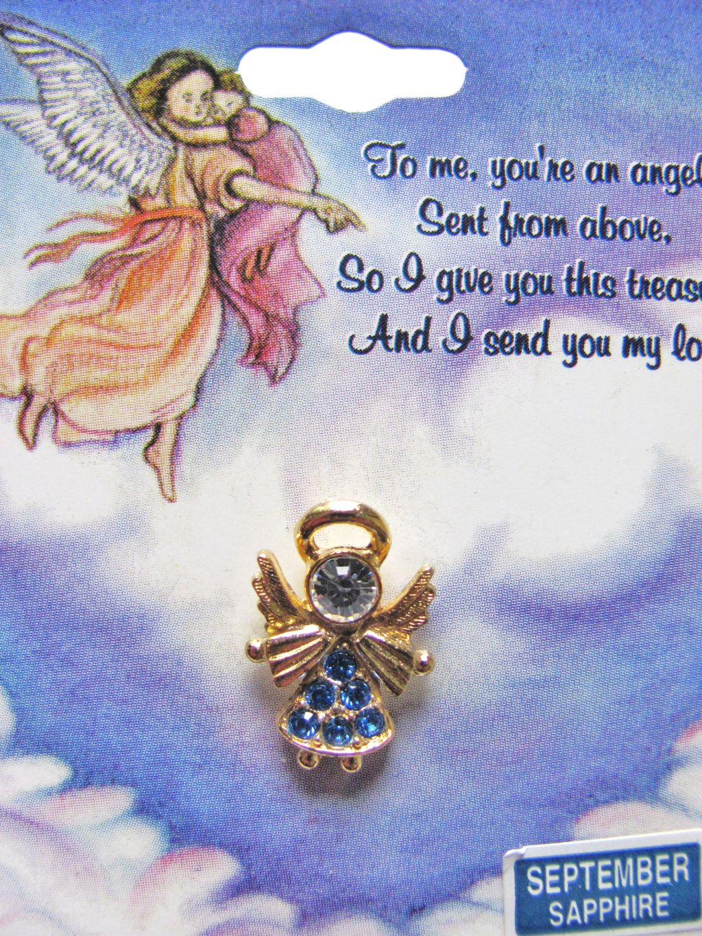 Sapphire-September Birthstone Angel Pin Gold Tone, Genuine Austrian Crystals
