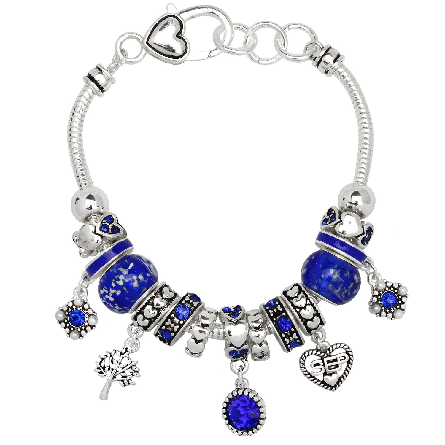4eb518a4a ... promo code for sapphire september birthstone charm bracelet murano beads  pandora style inspired a3d64 f47b5