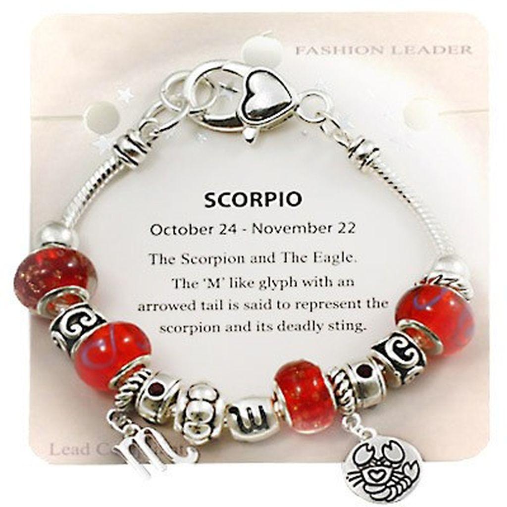 Scorpio Zodiac Sign Charm Bracelet, Pandora Inspired Beads