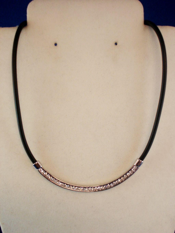 Shiny Cz Cubic Zirconia Crystals Necklace Black Vinyl Cord European Fashion Jewelry