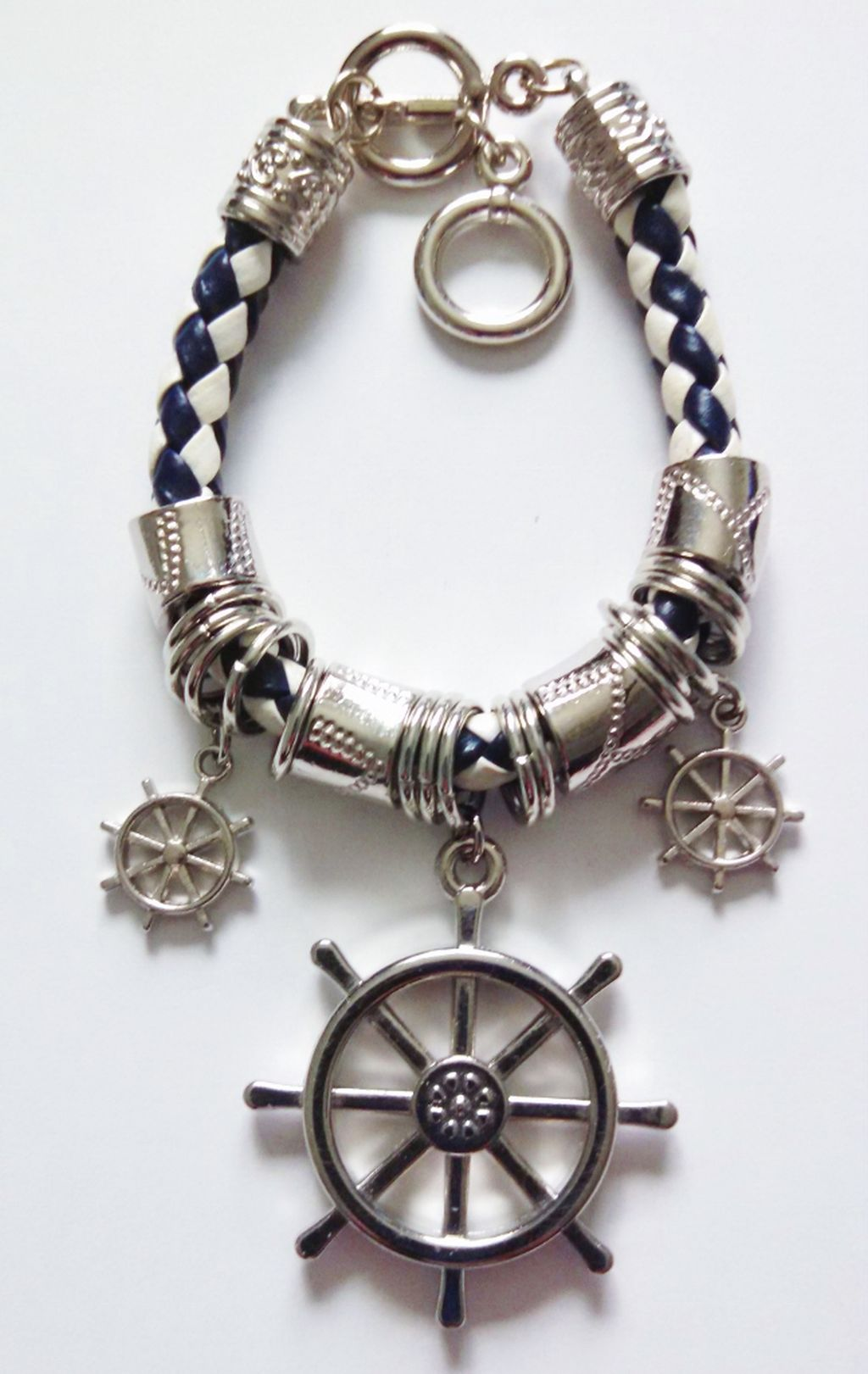 Silver Naval Ship Wheel Sailing Charm Bracelet, Nautical Jewelry Blue/White