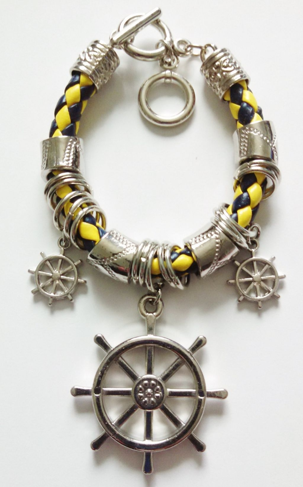 Silver Naval Ship Wheel Sailing Charm Bracelet, Nautical Jewelry Blue/Yellow