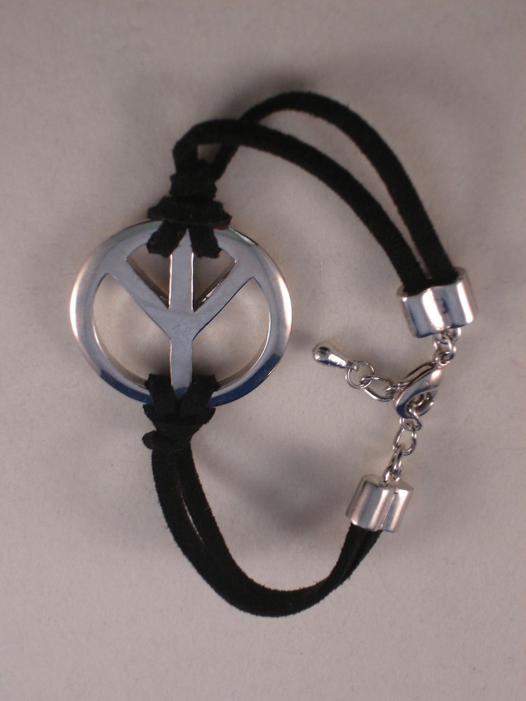 Silver Peace Sign Bracelet, Black Cord, Anti-allergic Jewelry
