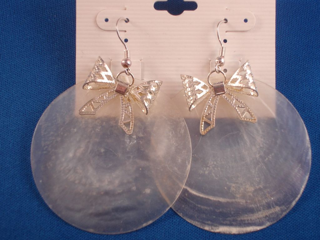 Silver Ribbon & Large Clear Genuine Shell Earrings
