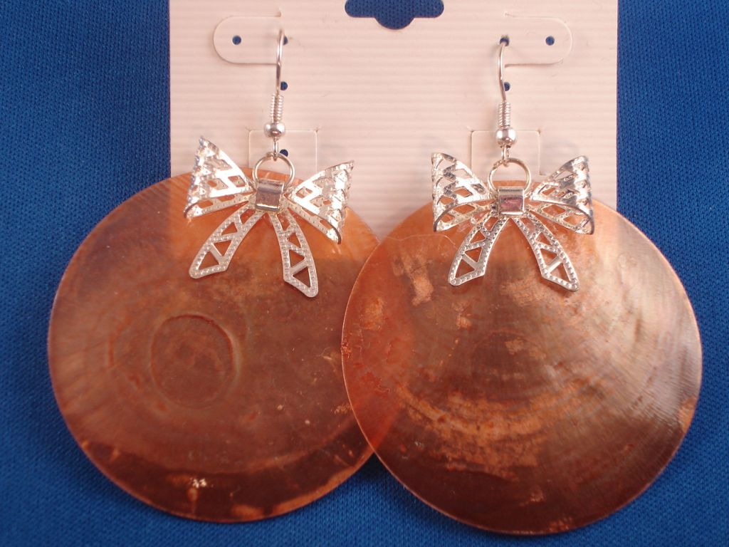 Silver Ribbon & Large Orange Genuine Shell Earrings