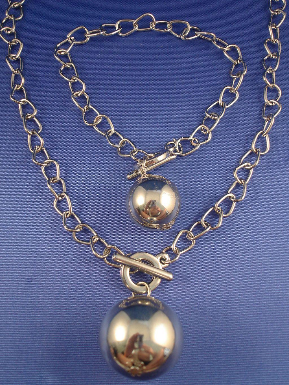 Silver Tone Set Of Necklace Amp Bracelet Ball Pendant