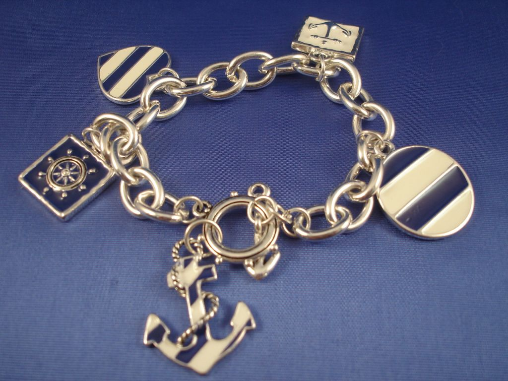 Silver Blue Tone Naval Sailing Chain Bracelet Anchor
