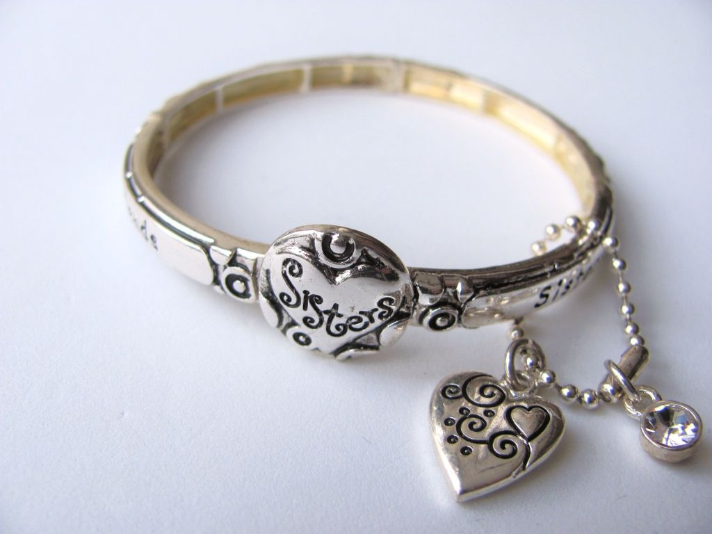 sisters are forever friends charm bracelet inspirational