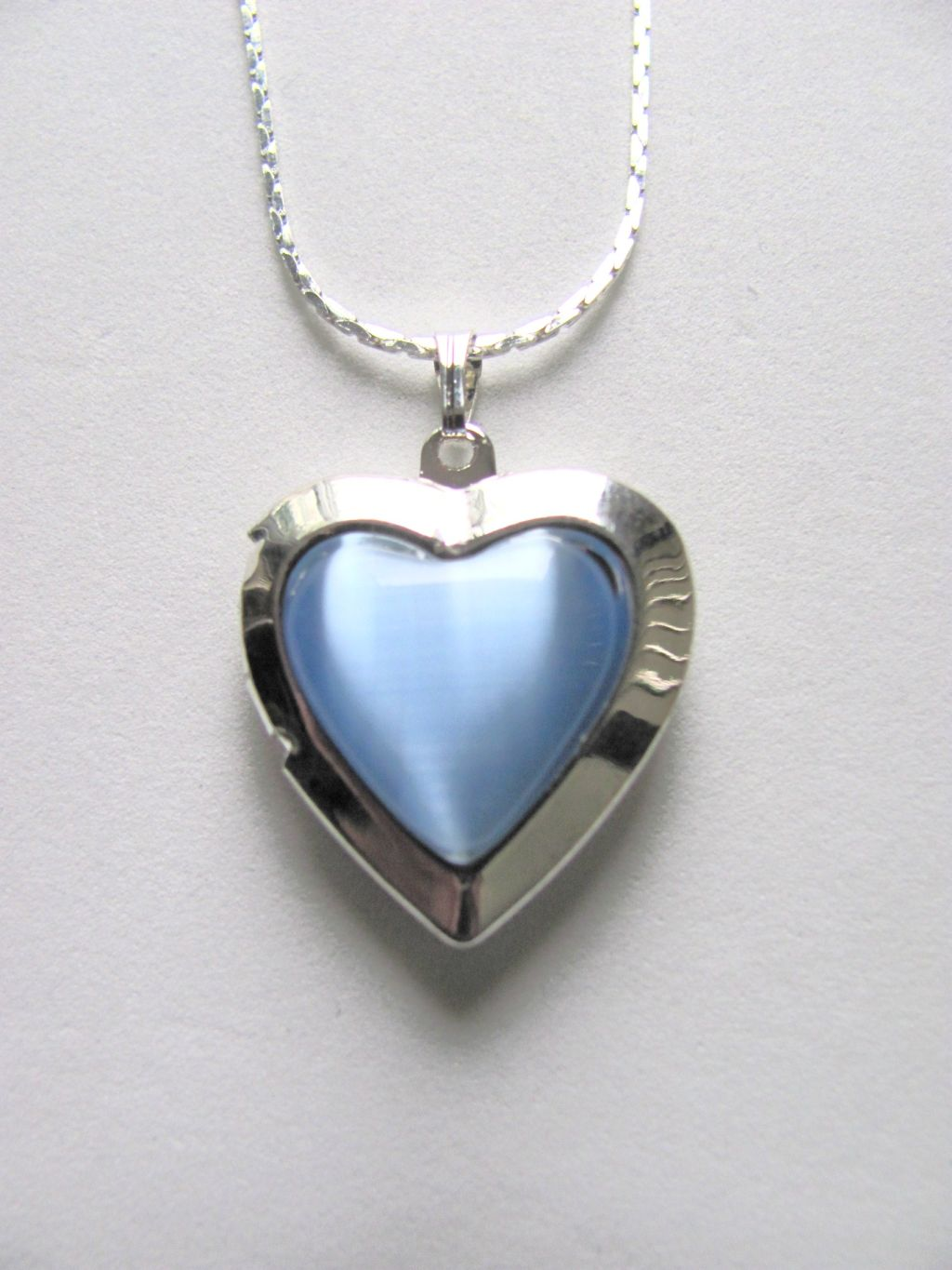 Sky Blue Heart Locket Photo Pendant Necklace, Silver Tone
