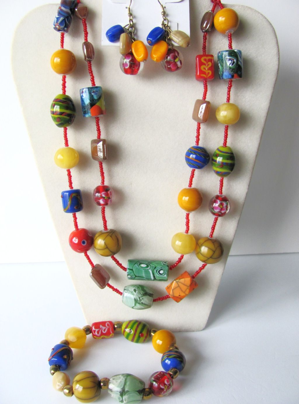 Summer Colors Glass Beads Necklace Bracelet Earrings Jewelry Set