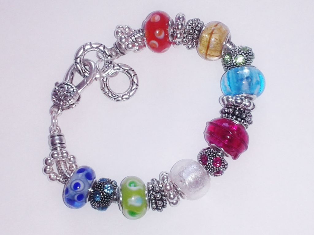 Summer Colors Murano Glass Bead Bracelet Pandora Inspired Vintage Style