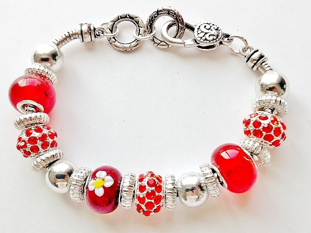 Summer Colors Ruby Red Bead Bracelet Pandora Inspired