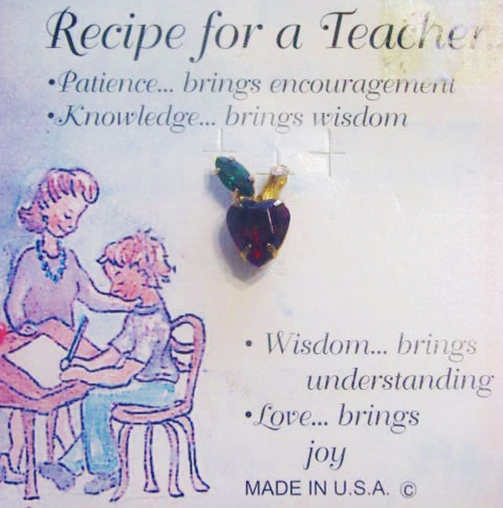 Teacher Pin Red Apple, Austrian Crystal Gold Plated