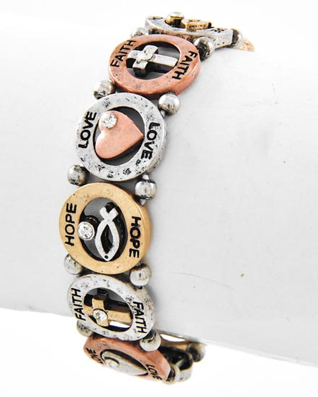 Three-tone Cross & Fish Stretching Bracelet, Faith Hope Love Inspirational Message