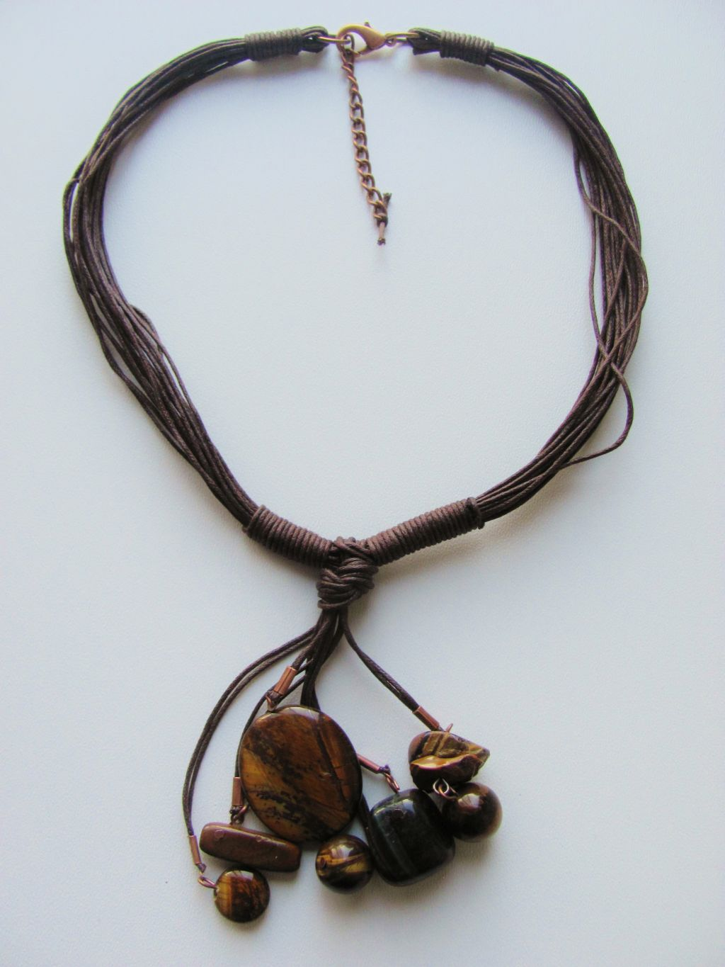 Tiger Eye Summer Necklace, Cotton & Genuine Stones