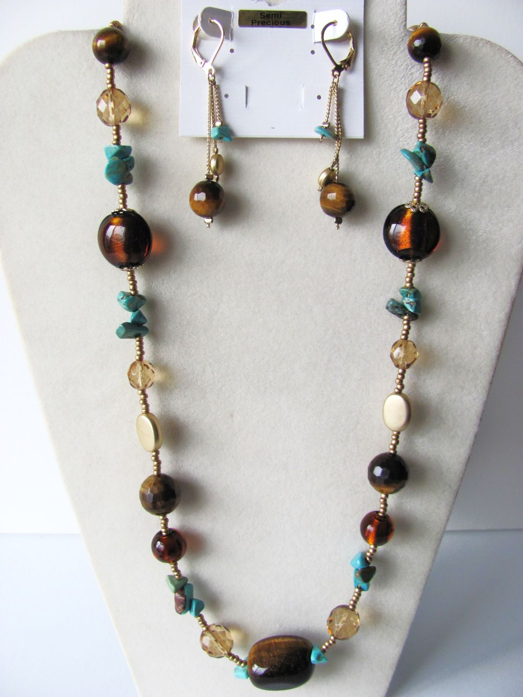 Tiger Eye Turquoise Semi-Precious Stones Necklace Earrings Jewelry Set