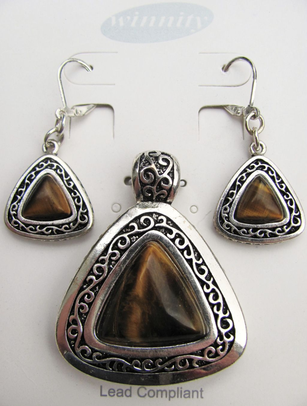 Tiger Eye Vintage Triangle Pendant Earrings Set, Genuine Stone
