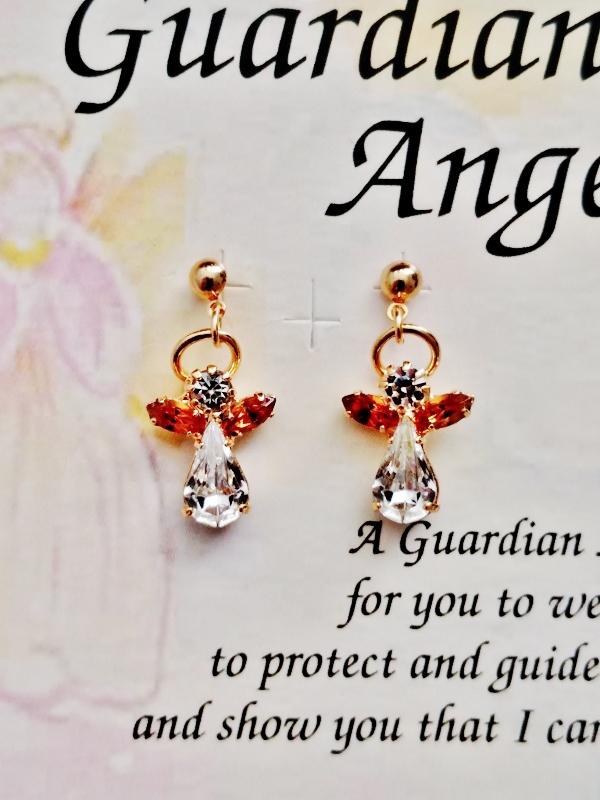 Topaz November Birthstone Guardian Angel Post Earrings
