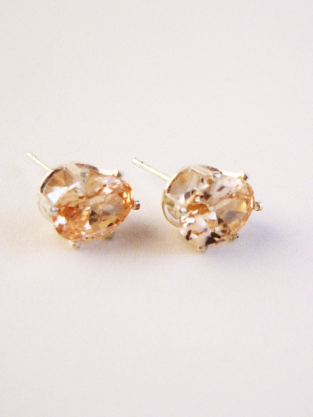 Topaz Oval Cut Silver Stud Earrings Genuine CZ Cubic Zirconia