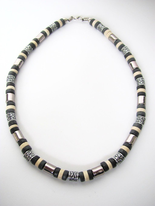 Tri tone black surfer beaded necklace men 39 s beach jewelry for Men s jewelry earrings