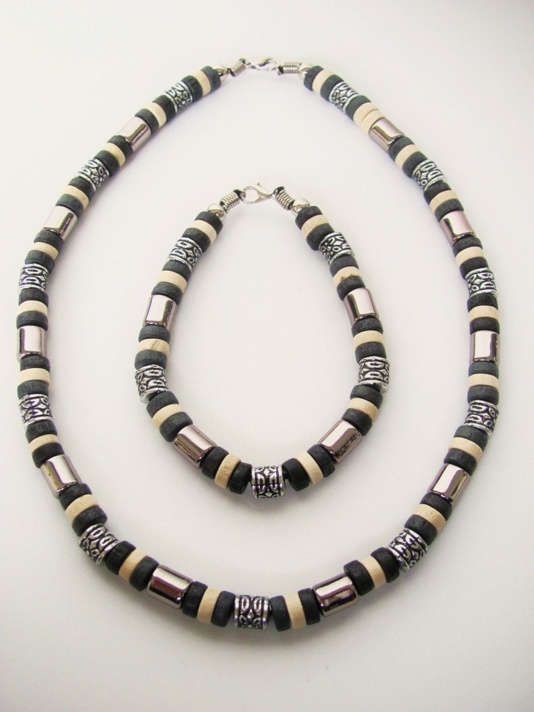 Tri Tone Black Surfer Beaded Necklace Amp Bracelet Men S