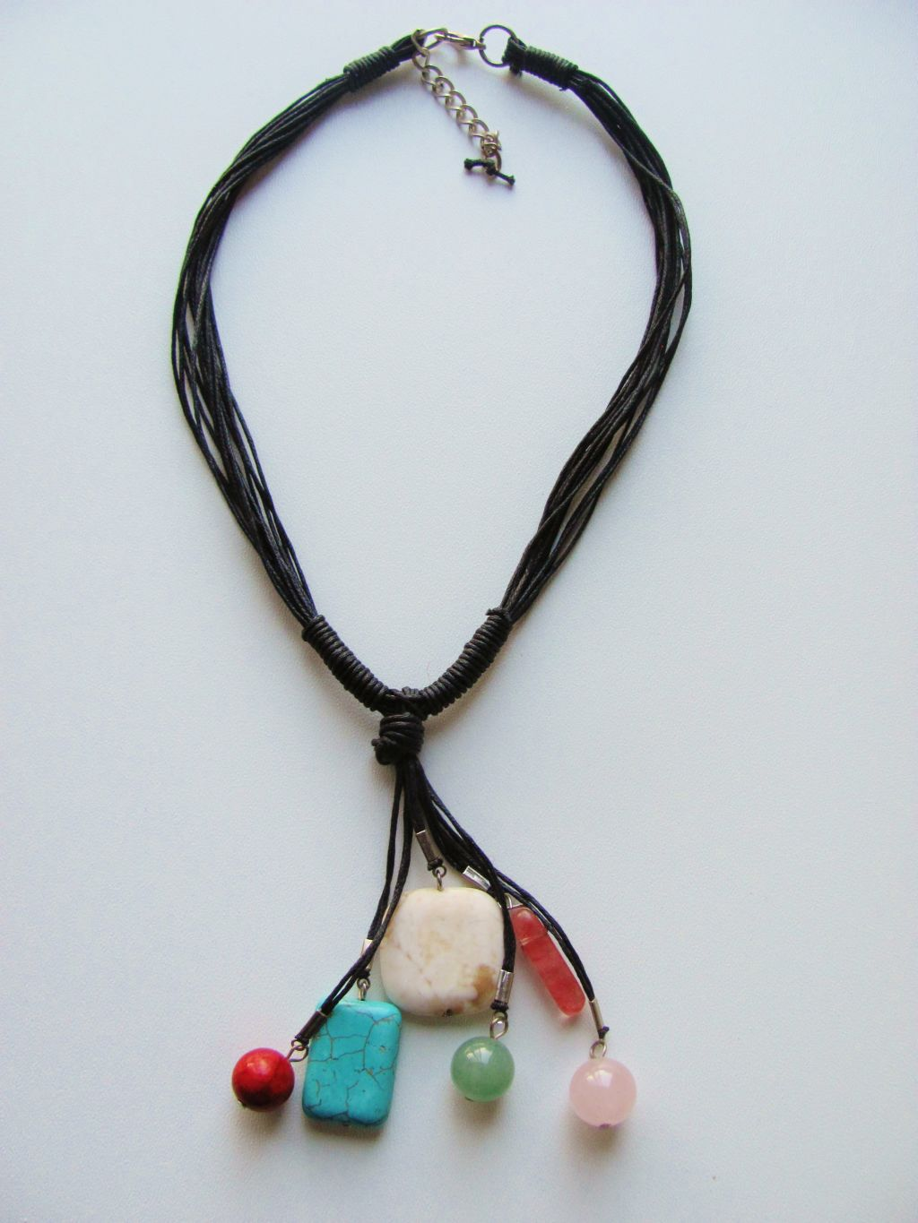 Turquoise Cocktail Summer Necklace, Cotton & Genuine Stones