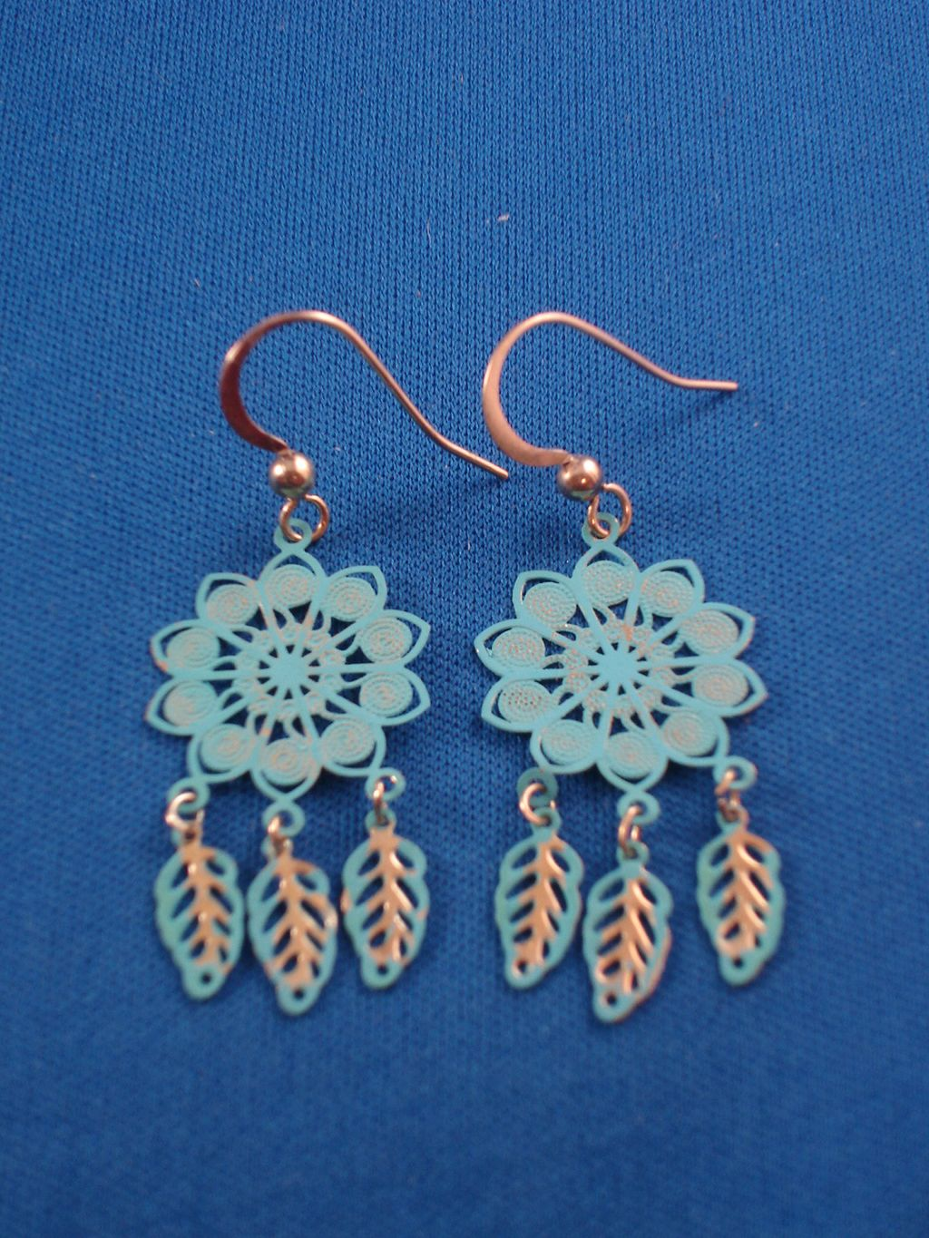 Turquoise Flower & Leaf Charms Filigree Earrings, Gold Tone Anti-allergic Metal