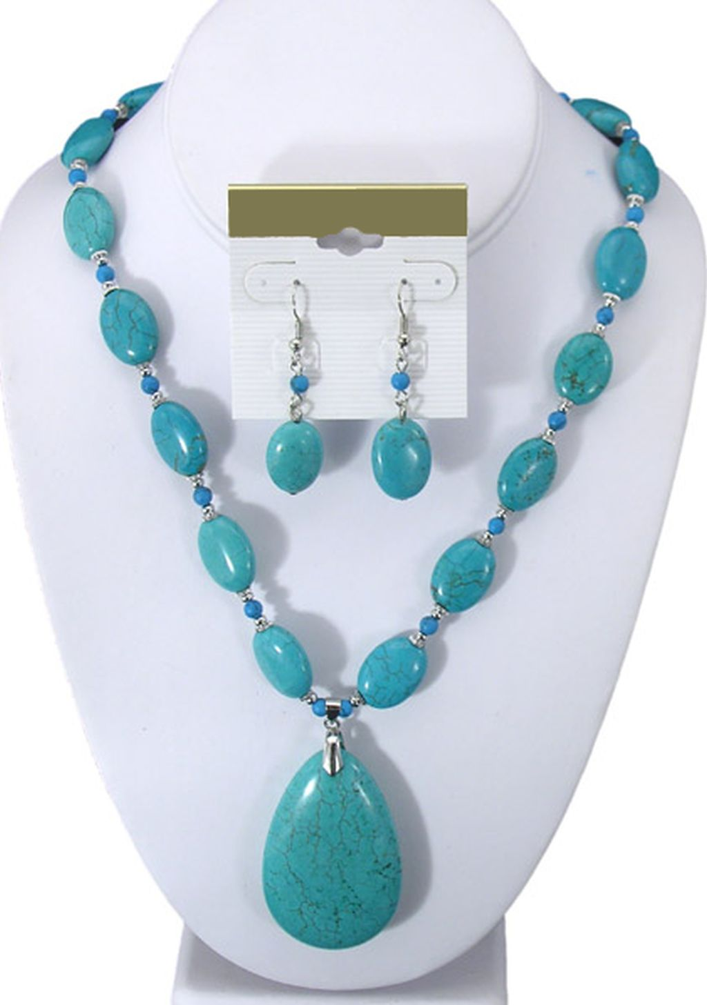 Turquoise Genuine Stones, Large Pendant, Set of Necklace & Earrings, Beads, Anti-allergic Metal