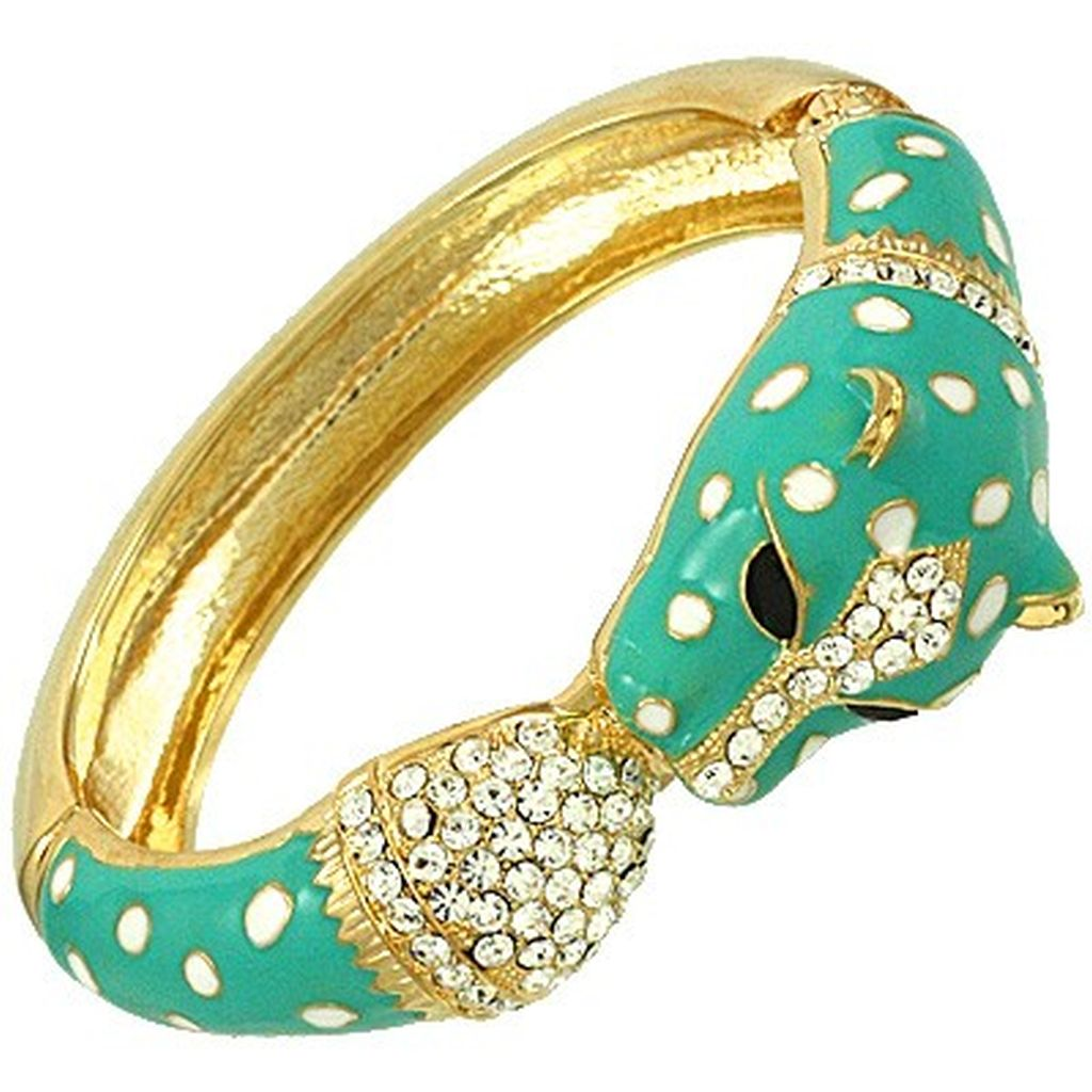 Turquoise & Gold Leopard Head Bangle Bracelet w/ Rhinestones