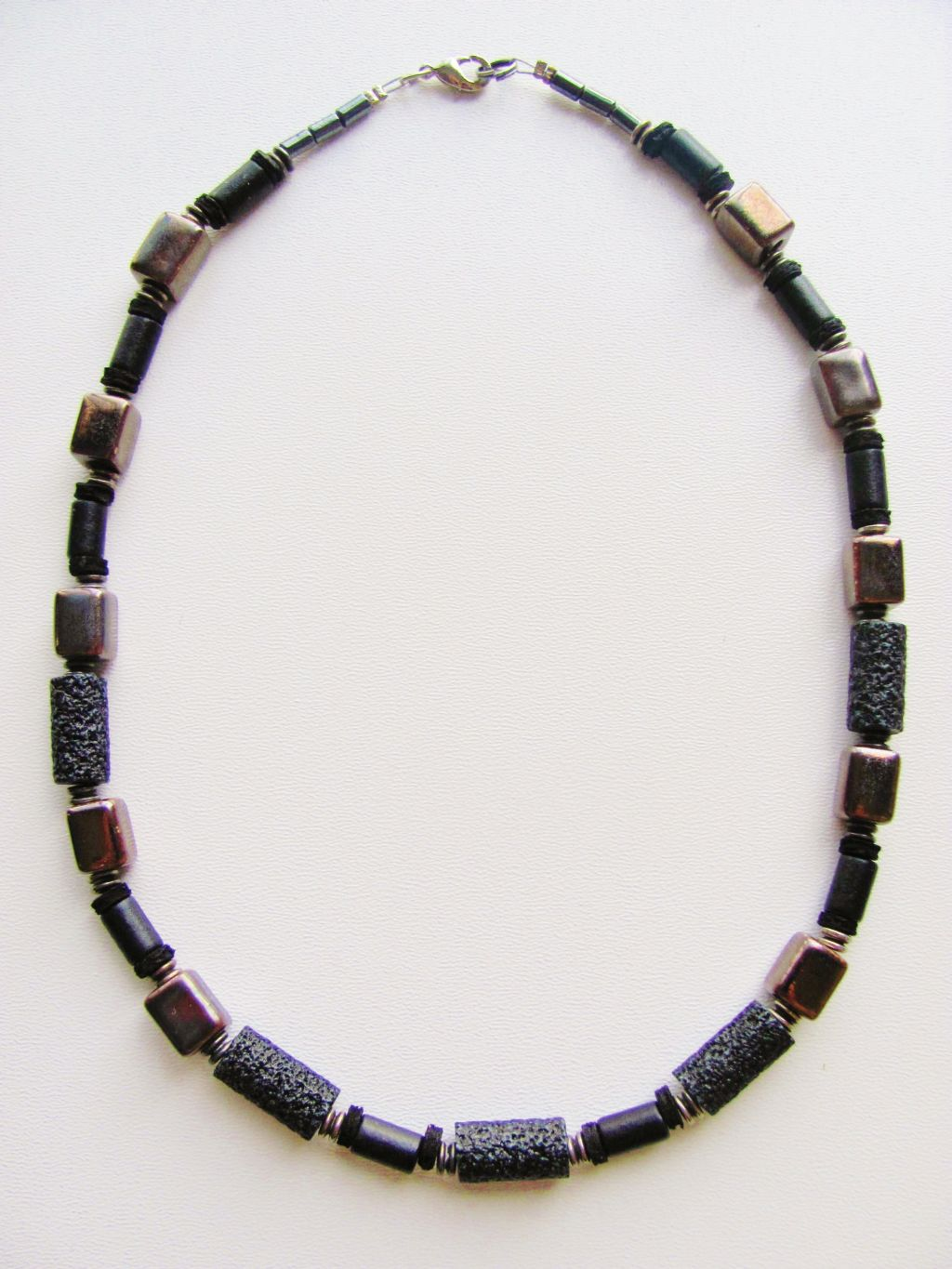 two tone black brown s surfer polished necklace