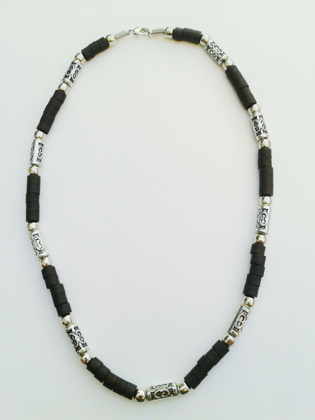Jamaica Two-Tone Chrome/Black Surfer Beaded Choker Necklace, Men's Beach Jewelry