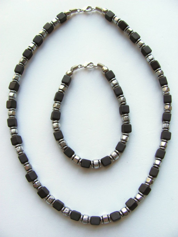 two tone black cube surfer beaded necklace bracelet s