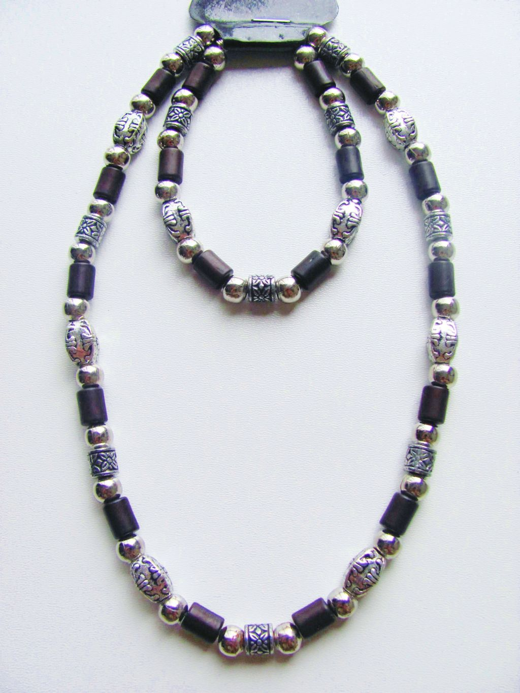 Miami Beach Two Tone Dark Brown Surfer Beaded Necklace