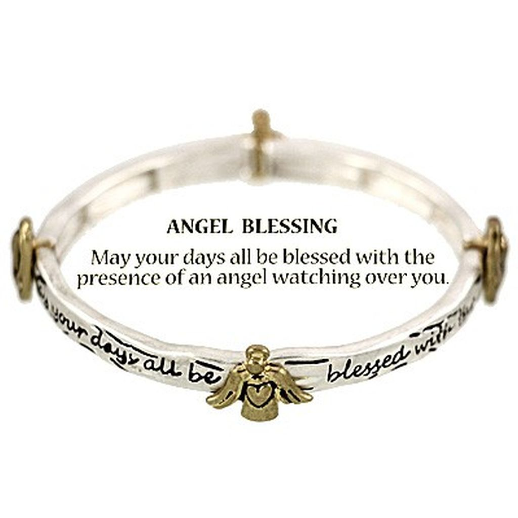 Two-tone Guardian Angel Blessing Bracelet, Inspirational Message Stretching Silver Bangle