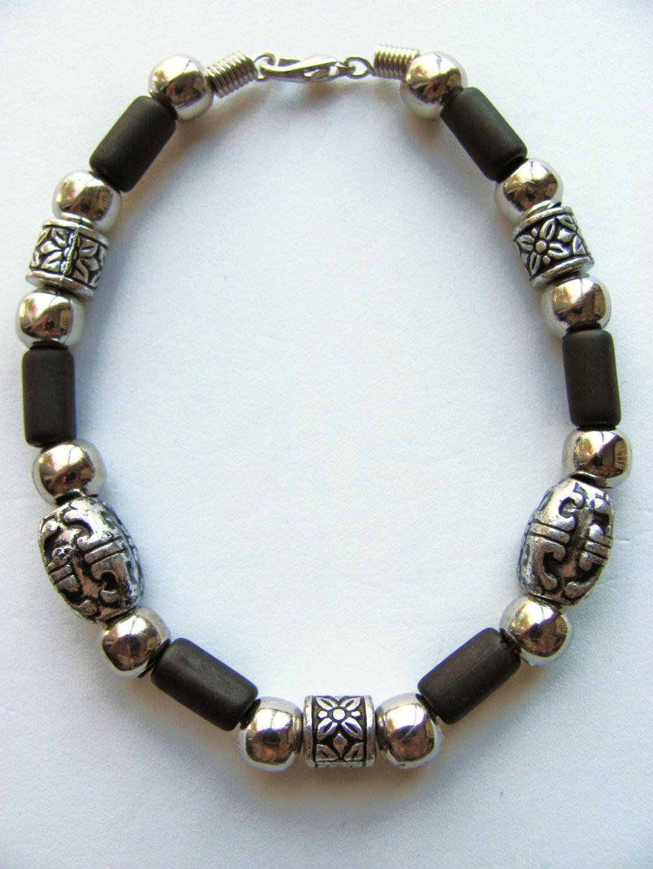 Vintage cherokee tribe beaded men 39 s beach bracelet chrome for Men s jewelry earrings