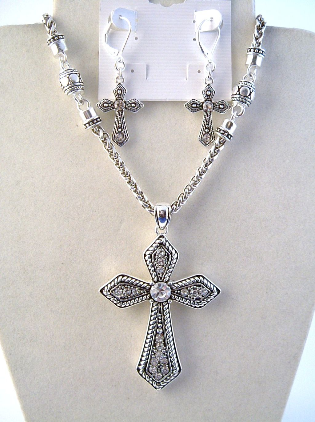Vintage Cross Pendant CZ Diamonds Necklace Earrings Jewelry Set