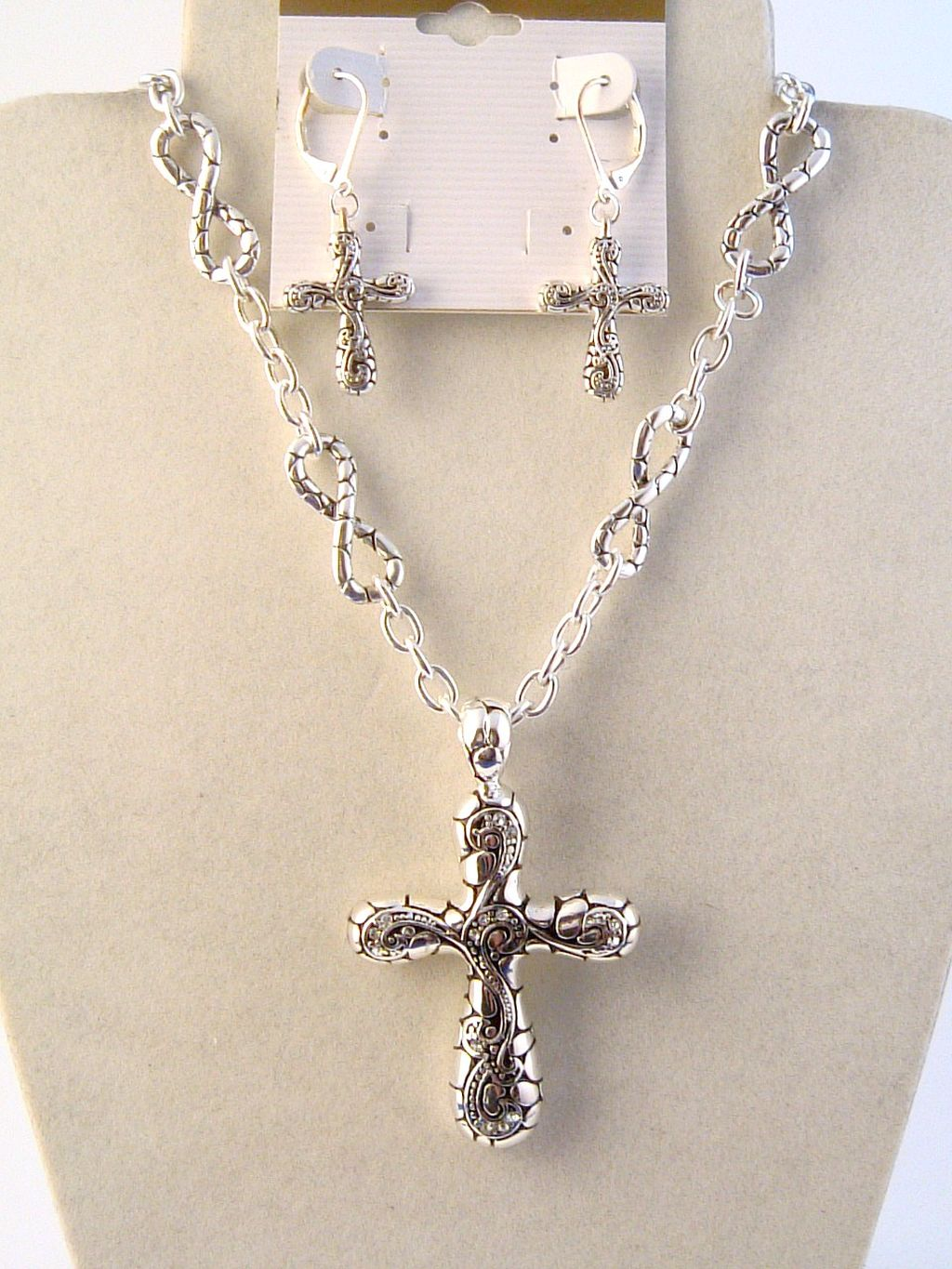 Vintage Ornament Cross Pendant CZ Diamonds Necklace Earrings Jewelry Set
