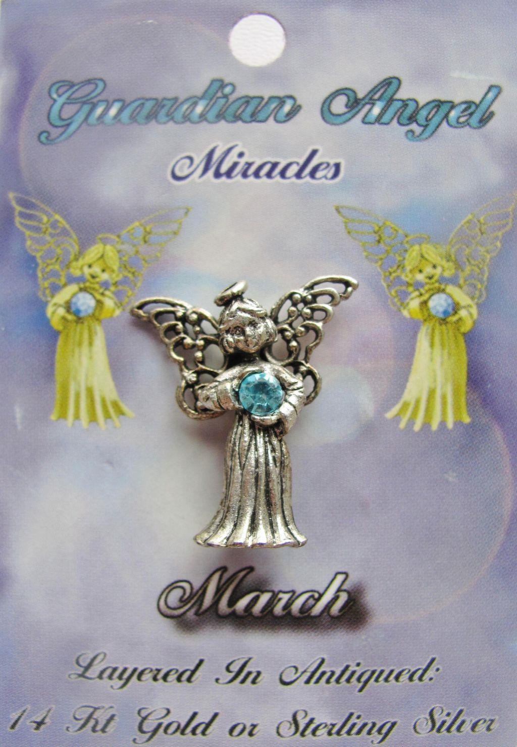 Vintage Silver Aquamarine March Birthstone Guardian Angel