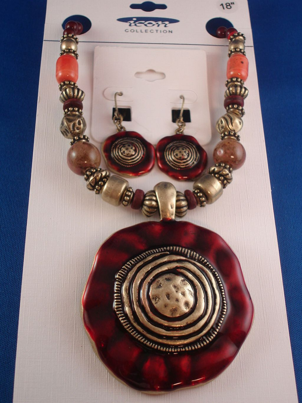 "Vintage Style Bronze Bulky Set of Necklace & Earrings, 2 1/2"" Pendant w/ Spiral Galaxy Ornament, Beads, Anti-allergic Jewelry"