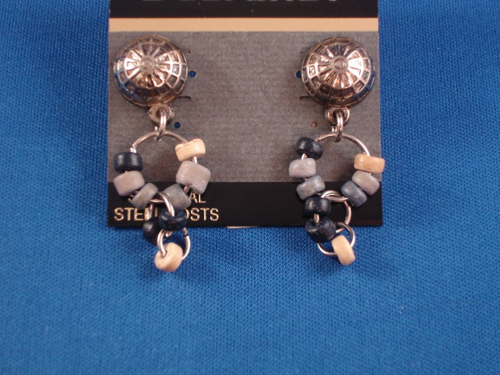 Vintage Style Half Globe Dangling Post Earrings, Blue & Beige Beads, Burnished Silver Tone Anti-allergic Metal